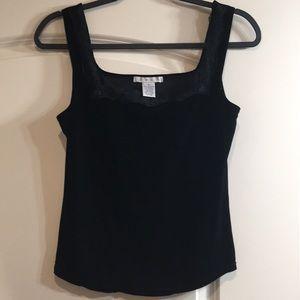 Black Velvet Tank Top Camisole Lace Trim / CAbi